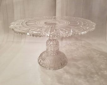 Vintage Clear Glass Pedestal Cake Stand ~ Footed Cake Plate