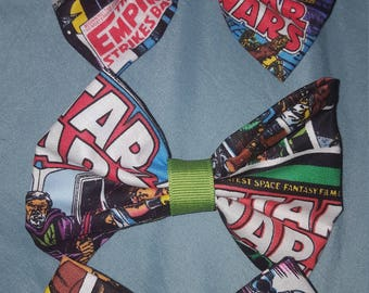 Star wars comic book style with green ribbon large hair bow