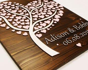 Alternative Wedding guest book tree, decor,singing,3D wood, married 066