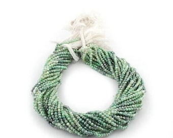 50% off 5 Strands Green Silverlite coated 3mm Faceted Center Drill Rondelles, Green silverlite Gemstone Beads 13 Inches Long GR117