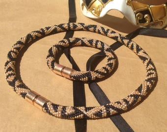 Jewelry Set/ Gold and Black/ Elegant Crochet Bead Rope/ Necklace and Bracelet