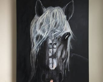 "Horse - Wood acrylic painting on canvas, 24 ""x 30"""