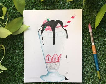 Sundae, cream ice illustration, watercolor, handmade, 8 x 10, 300g paper