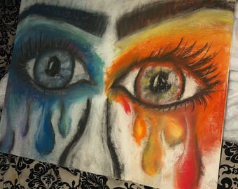 Fire and Ice Eyes Pastel Drawing ORIGINAL