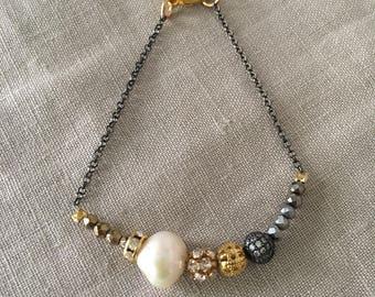 Pearl, Hematite and Rhinestone Bead Bracelet on Black Chain