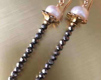 Freshwater Pearl and Hematite Wand Earrings