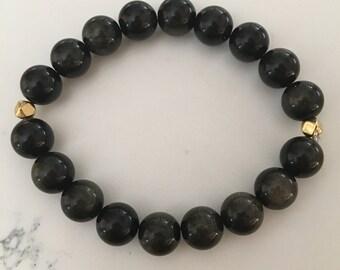 Gold Obsidian Gemstone Bracelet