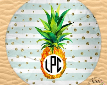 Pineapple Mint Stripe 'n' Gold Round Beach Towel Tropical Pattern Personalized with Name or Monogram - 60in Round Beach Towel