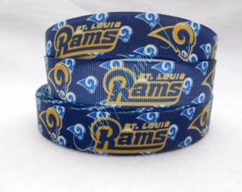 "LAST CUTS of Rams Football NFL 7/8"" Grosgrain Ribbon by the yard. Choose 3/10 yards. St Louis"