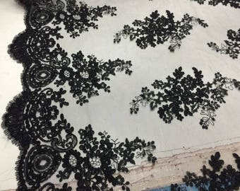Black Flower Embroider On A Mesh Lace.36x50inches.wedding-bridal Lace.