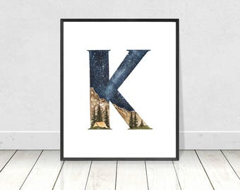 Alphabet Typography Watercolor Art Print For Boy's Nursery Room Decor- Letter K Whimsy Wilderness Camping in a Tent Printable Artwork
