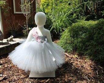 Beautiful Grey & pink tutu dress Party flowergirl/bridesmaid