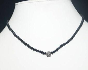 Designer 1.40cts pave diamond round bead ball black spinal beaded necklace - SKU PJN201