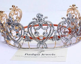 Victorian style 10.70ct. natural rose cut diamonds sterling silver wedding tiara hair accessory based on royal Manchester tiara