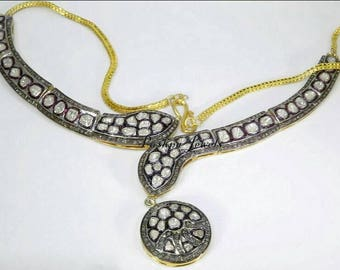 Vintage Look Antique Finish 12.70cts Rose cut Uncut Polki Diamond Oxidized Sterling Silver snake Choker Necklace