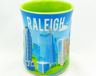Raleigh Metro Skyline Embossed Ceramic Mug