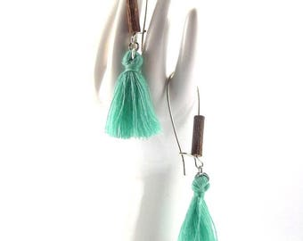 "Earrings ""Lili"" with watery green PomPoms"