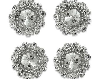 """1"""" Round Rhinestone Appliques Pack of 4 - Crystal"""