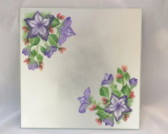 "Centerpiece Mirrored Tile, ""Petunias,"" 12"" x 12"" hand painted tile, Instant Centerpiece"