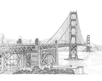 San Francisco Golden Gate Bridge, Black & white Ink, Postcard, Art Print