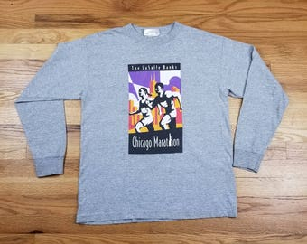 Vintage 90s Chicago Marathon New Balance long sleeve T Shirt vaporwave size Medium M