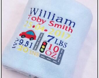 Personalised Baby Blanket, Baby Gift, Fleece Blanket, Birth Announcement, Car Blanket, Boy Blanket,