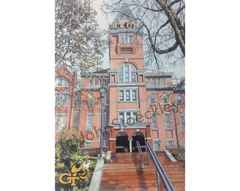 Georgia Tech LIMITED EDITION Pen and Ink and Watercolor Art Print Illustration - Graduation Gift, university