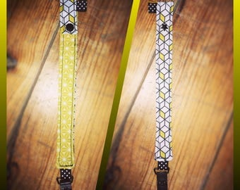 Fabric pacifier clip yellow black and white