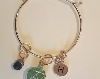 Sea Glass Bracelets diffuser bracelet with Lava bead- Customize with your Own initials or another requested charm!