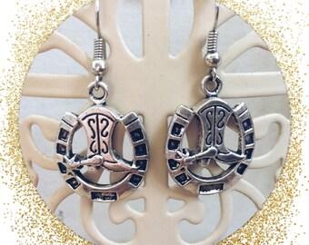 Horseshoe and boot earrings