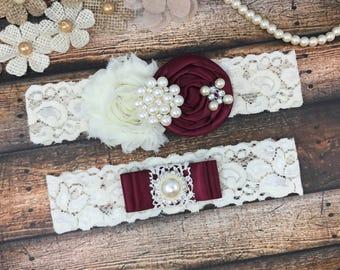 Wine Wedding Garter Belt, Bridal Garter set , wine ivory Lace Garter, Keepsake Garter, Toss Garter, wibe  Wedding Garter, wine wedding