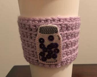 Crocheted Coffee Cozy - Mason Jar with Sequins - fits most to go cupsd