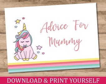 Printable, Personalised A6 Advice For Mummy Baby Shower Game. Unicorn Design. Digital Download.