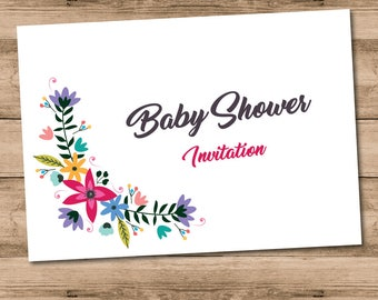 10 x Printed Floral Baby Shower Invitations with Envelopes