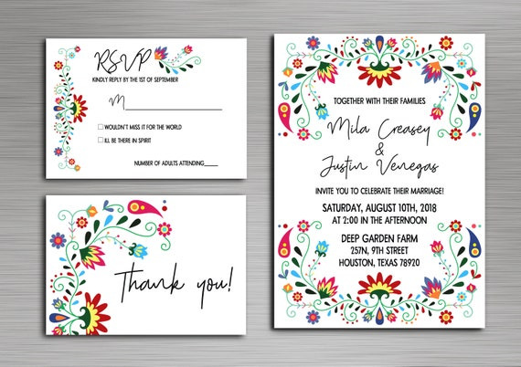 Colorful Mexican Inspired Wedding Mexican Wedding Invitations - Wedding invitation templates: mexican wedding invitations templates