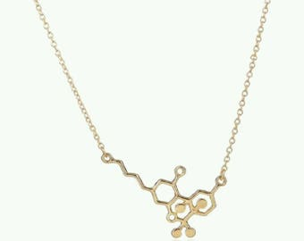 thc molecule necklace styled for or in solid