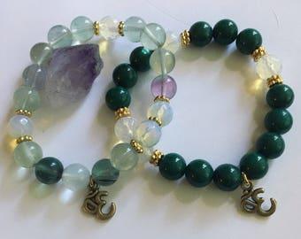 Jade & Moonstone Stretchy Chunky beaded Bracelets