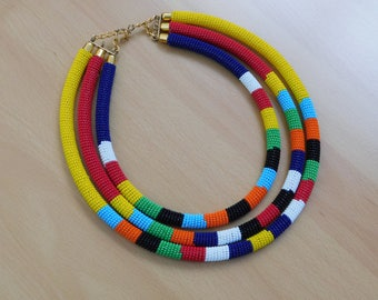3in1 African Masai Beaded Necklace