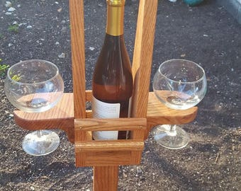 Outdoor Solid Oak Wine Caddy
