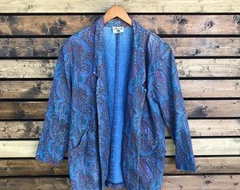 Vintage 80's Cherokee paisley chambray sports jacket