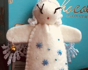 Felt Angel, Christmas Decoration, Handmade, Felted Doll Angel, Felt Toys