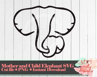 Mother and Baby Elephant Cut File PNG SVG for Circut Silhouette