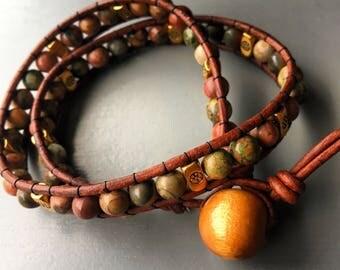 Stone Double Wrap Leather Bracelet