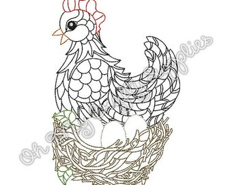 Henna Hen Embroidery Design