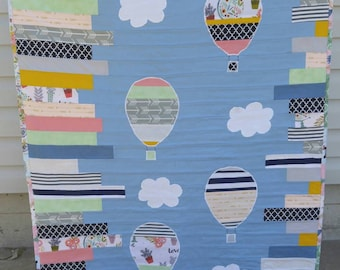 Unique handmade baby girl blanket, FREE SHIPPING, baby quilt, hot air balloons, clouds, modern baby blanket