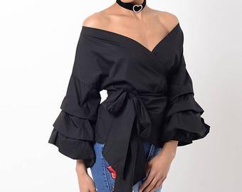 Stylish Black Ruffle Sleeve Wrap Top