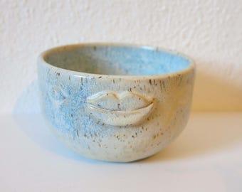 Bowl, ice-blue lips