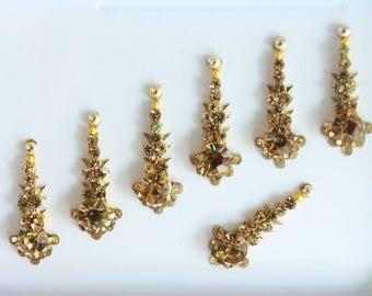 7 Gold Face Jewels,Long Bindis Stickers,Festival Bindis Forehead,Gold Bindis,India Bindis,Bollywood Bindis,Bindis,Self Adhesive Stickers