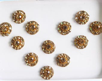 12 Gold Round Bindis,Bridal Gold Bindis,Face Jewels Bindis,Gold Face Jewels Bindis,India Bindis,Bollywood Bindis,Self Adhesive Sticker