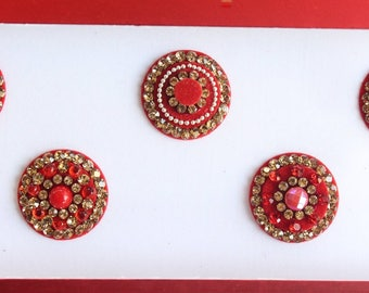 7 Extra Big Red Round Velvet Bollywood Bindis, Indian Velvet Colorful Bindis,Colorful Face Bindis,Bollywood Bindis,Self Adhesive Stickers